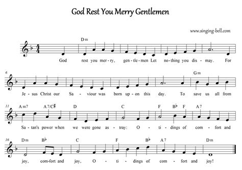 Tidings Of Comfort And Chords by Free Carols Gt God Rest You Merry Gentlemen