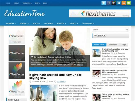 theme education time educationtime wordpress theme by flexithemes
