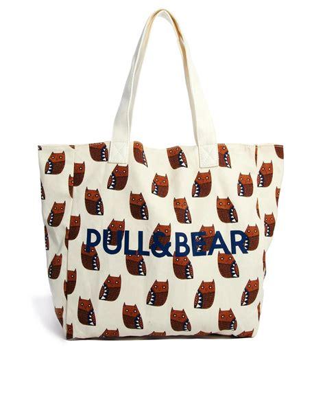 Pullbear Bag pull pullbear geometric owl print shopper bag in beige lyst