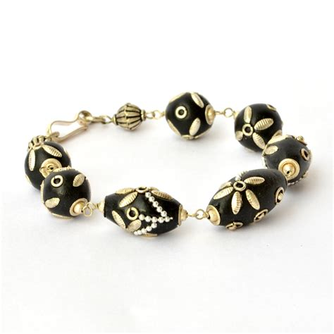 Handmade Bracelets For - handmade bracelet black with flower design