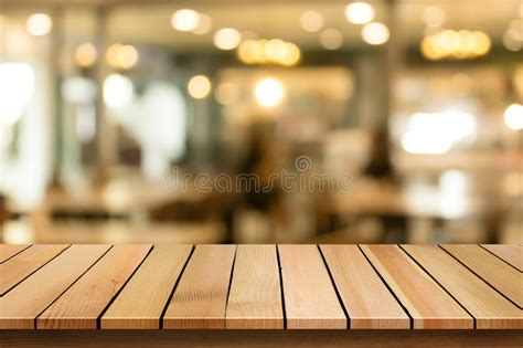 wood table top  blur bokeh cafe background