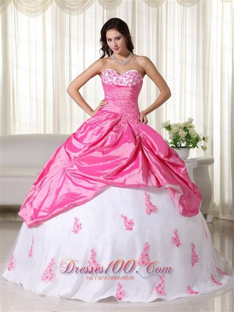 pink and white dress appliques pink and white ball gown taffeta quinceanera