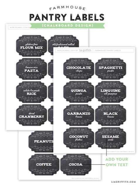 farmhouse pantry labels    edit  print