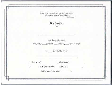 blank birth certificate template 12 best images of blank birth certificate paper
