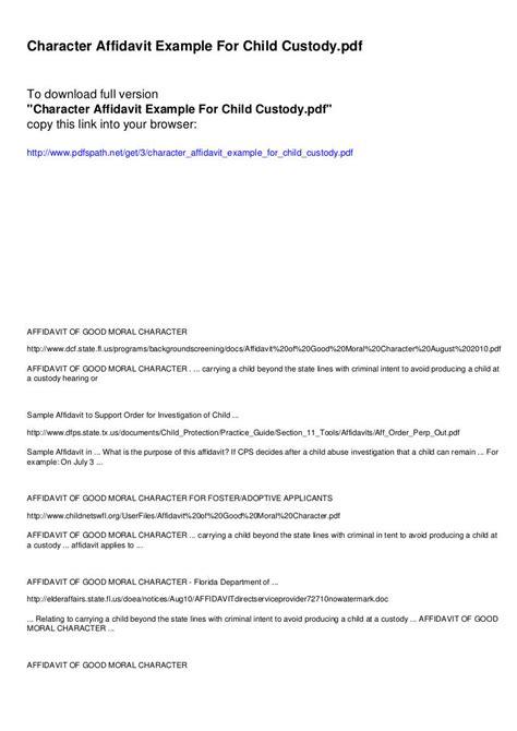 9 Affidavit Of Character Exles Pdf Character Affidavit Template