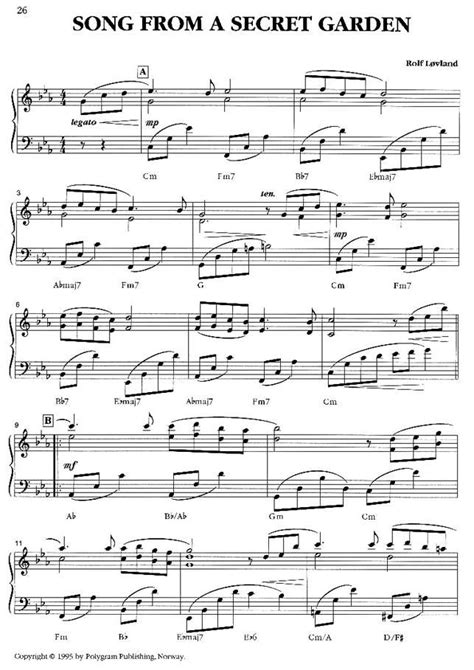 Song From A Secret Garden by Free Piano Sheet Secret Garden The Secret Garden