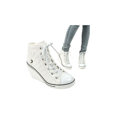 zipper sneakers womens lace up wedge sneakers high top zipper shoes white
