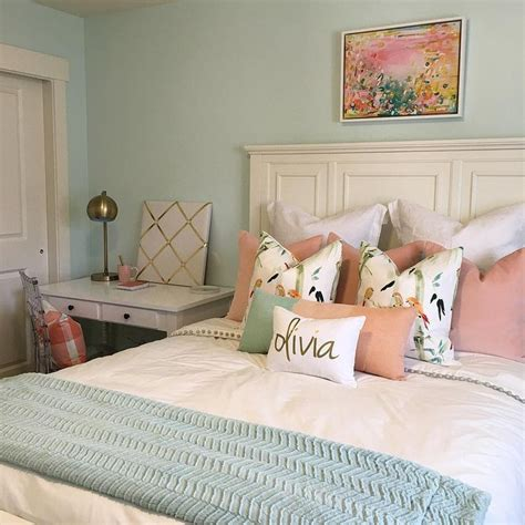 light blue and red bedroom wall color is embellished blue by sherwin williams mixed