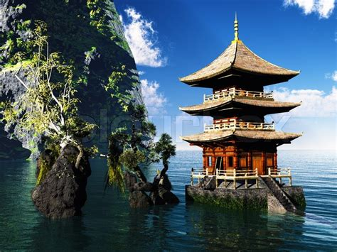 Japanese Zen Design by Buddhist Temple In The Mountains Stock Photo Colourbox