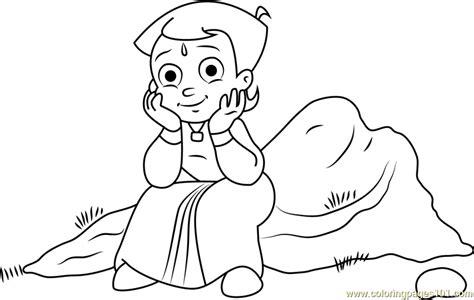 chhota bheem coloring pages games chhota bheem sitting on rock coloring page free chota