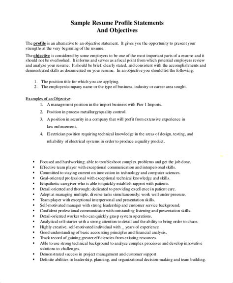 Objective Resume Statement by Sle Objective Statement Resume 8 Exles In Pdf