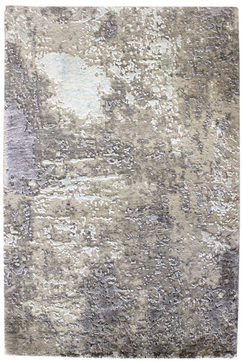 Recent Arrivals Gallery Modern Patinated Look Rug Hand Grey Rug