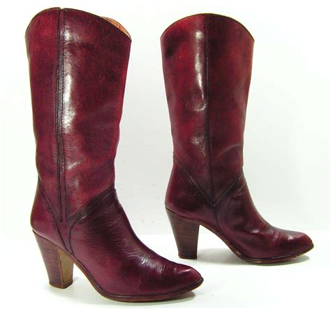 cowboy high heel boots vintage high heel leather cowboy boots womens 7 5 b m burgandy