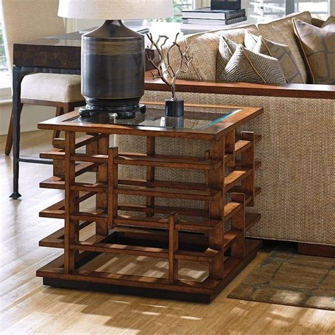 tommy bahama island fusion living room furniture tommy bahama island fusion nobu square glass end table in