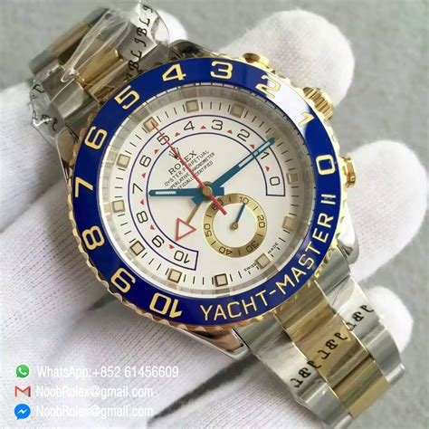 Rolex White On Two Tone Bracelet A 7750 yacht master 2 chronograph 116683 steel blue