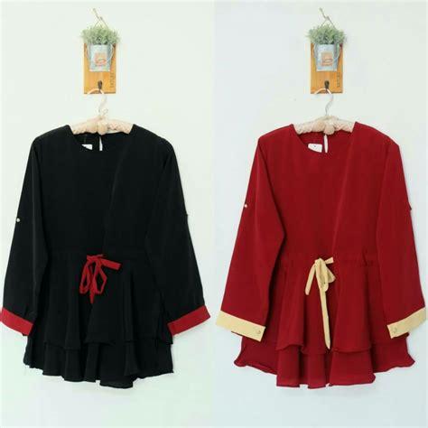 Top Kerut jual blouse tali kerut tengah polos baju tunik hootd