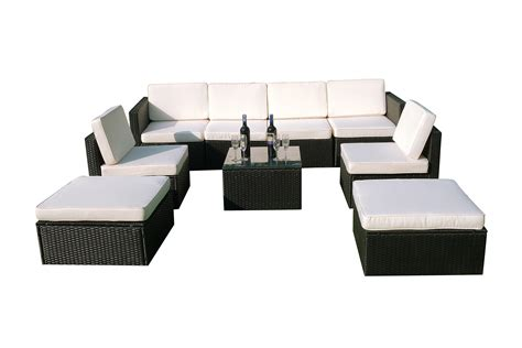 black outdoor sofa mcombo 9pcs black wicker patio sectional outdoor sofa