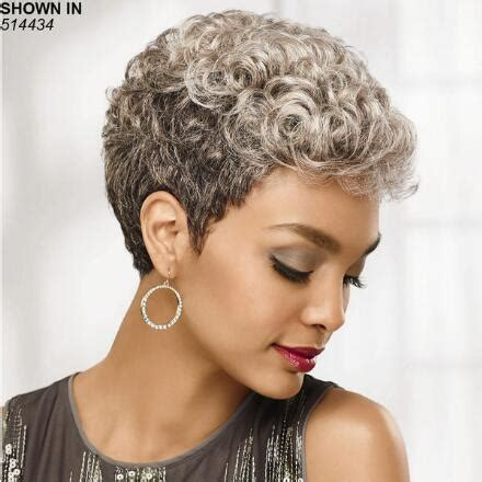 salt and pepper pixie cut human hair wigs african american gray wigs wig com