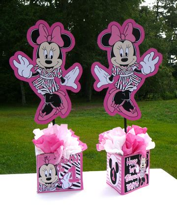Minnie Mouse Handmade Decorations - minnie mouse personalized centerpiece zebra print dress wh
