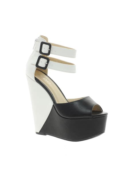 Sale Aldo Black Wedges Ori aldo colour block platform wedge sandals in black