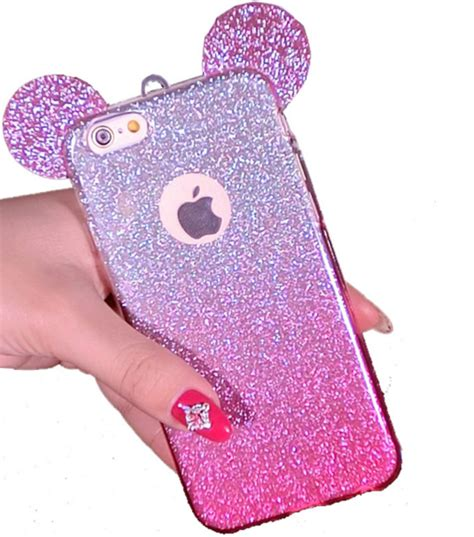 Iphone 7 3d Mickey Glitter Bling Soft Tpu Back Reo 3d mouse ears iphone 7 tpu glitter gradient for