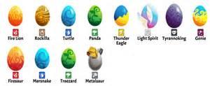 eggs list monster legends