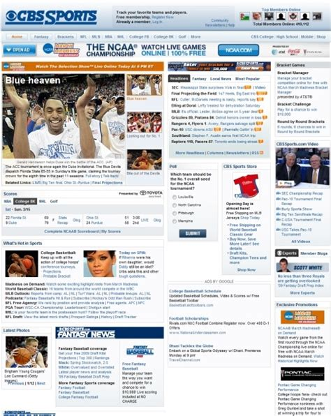 yahoo sports layout showcase of beautiful sports websites smashing magazine