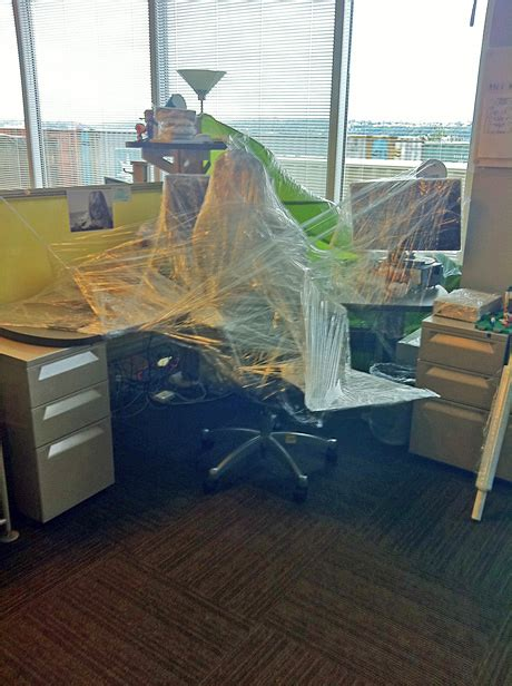 Office Prank Ideas Desk Saran Wrapped Desk Traps Studios Vp Big Fish
