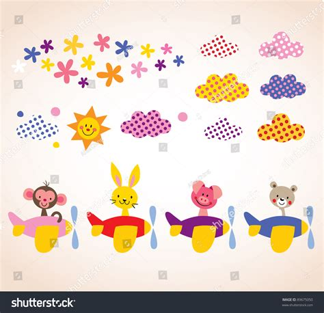cute animals in boats kids design elements set stock cute animals in airplanes kids design elements set stock