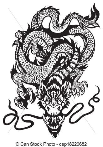 vector of dragon tattoo black white dragon tattoo black