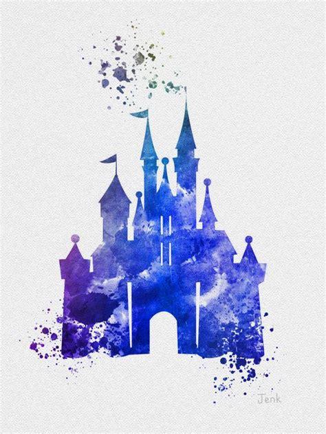 castle of disney world line drawing tattoo inspiration cinderella castle art print blue 10 x 8 illustration by