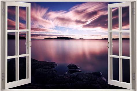 Sunset Wall Mural free shipping 3d window sill purple lake sunsets sofa wall
