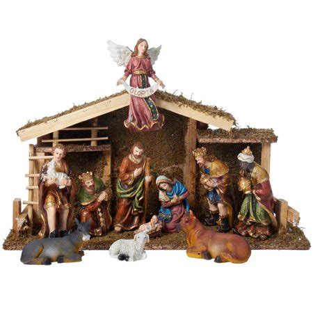 christmas stable walmart kurt adler nativity figures with wooden stable 12pc walmart