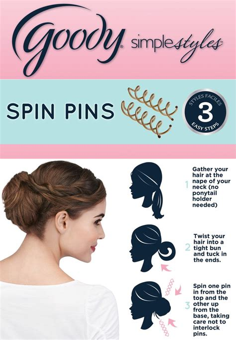 goody hair hairstyle using goody spin pins is as easy as 123 simple styles