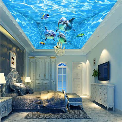 sea decorations for home murals wall paper modern art top beach deep blue sea water
