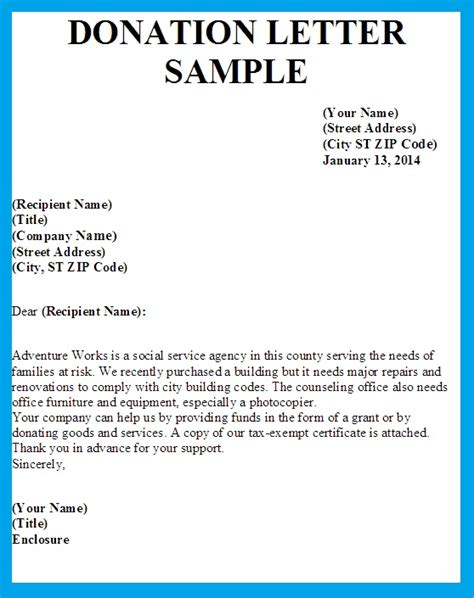 Fundraising Letter For A Sick Person Letter Asking For Donations Writing Professional Letters