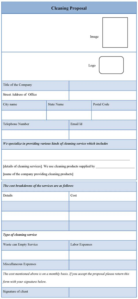 bid templates template for cleaning template of cleaning