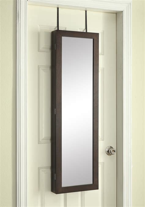 over the door armoire over the door jewelry armoire with mirror dark walnut