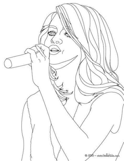 selena gomez singing close up coloring pages hellokids com
