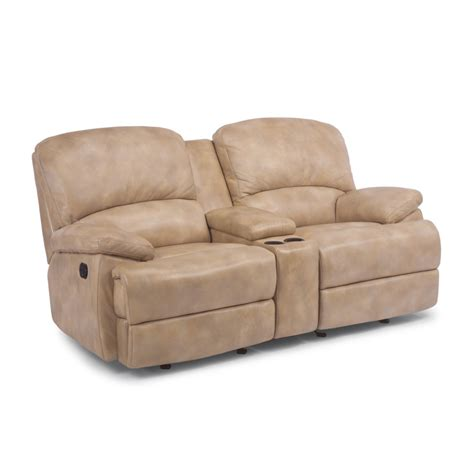 Leather Reclining Sofa With Chaise Flexsteel 1127 604 Leather Chaise Reclining Loveseat With Console Discount Furniture At