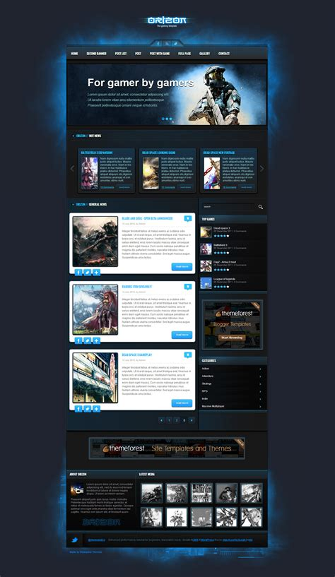 gaming templates orizon the gaming template html version by skywarrior