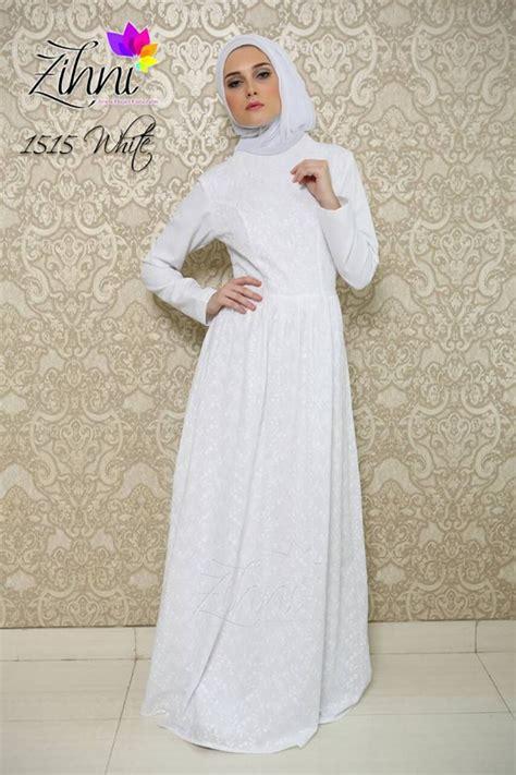 Gamis Pesta White zihni 1515 white baju muslim gamis modern