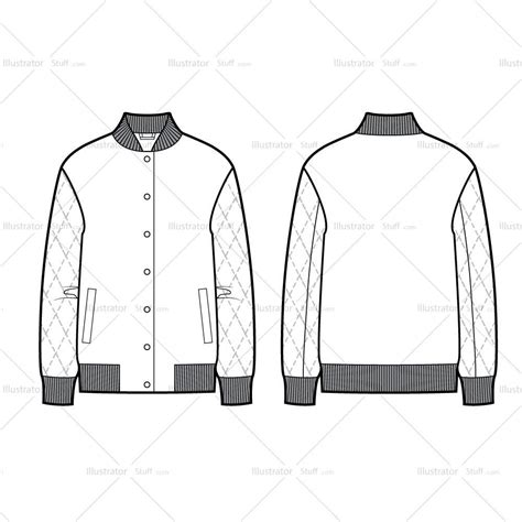 quilted sleeves bomber jacket flat template illustrator