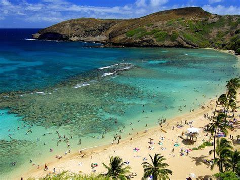 summer  hawaii islands ocean sandy beach mountain nature
