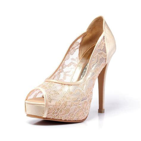 Satin Heels Wedding by Chagne Gold Lace Wedding Shoe Peep Lace Satin Wedding
