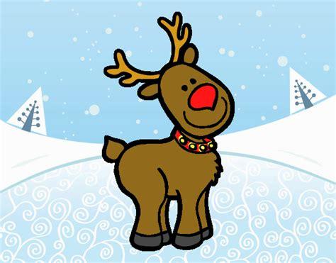 in color reno dibujo de un reno navide 241 o pintado por en dibujos net el