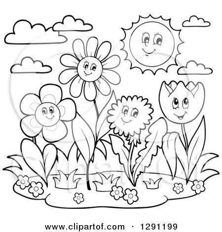 cartoon of colorful daisy flower faces on stems royalty