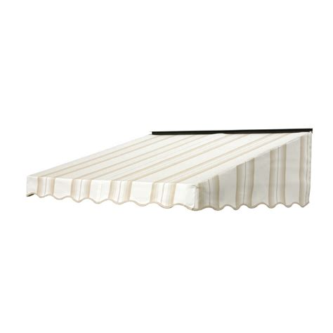 door awnings lowes shop nuimage awnings 6 ft wide x 3 ft 5 in projection sand graduated striped slope