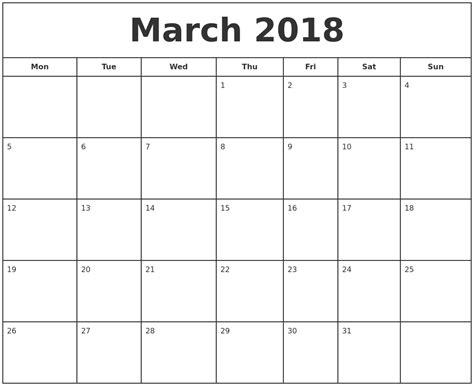 printable calendar for march 2018 march 2018 print free calendar