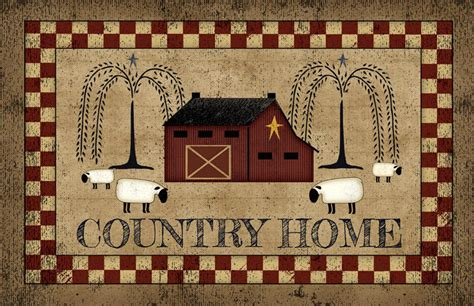 delightful Decorative Kitchen Floor Mat #2: Country-Primitive-Folk-Art-COUNTRY-HOME-Sheep-Willow.jpg